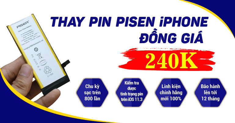 thay pin iPhone 7 Pisen